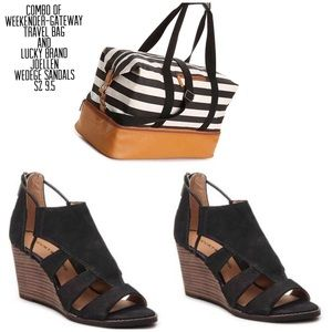 Lucky Brand Wedge Sandals & Travel Bag Bundle Of 2